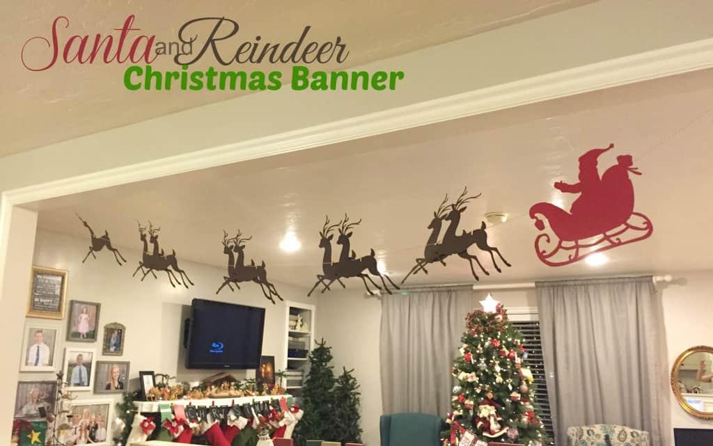 Christmas Banner – Santa, Sleigh, & Reindeer