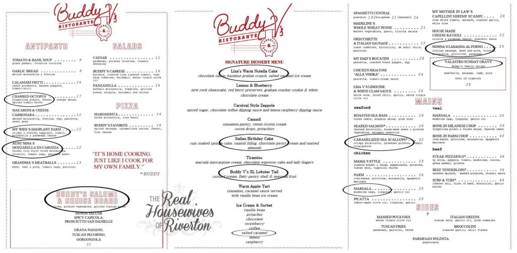 Buddy V's menu