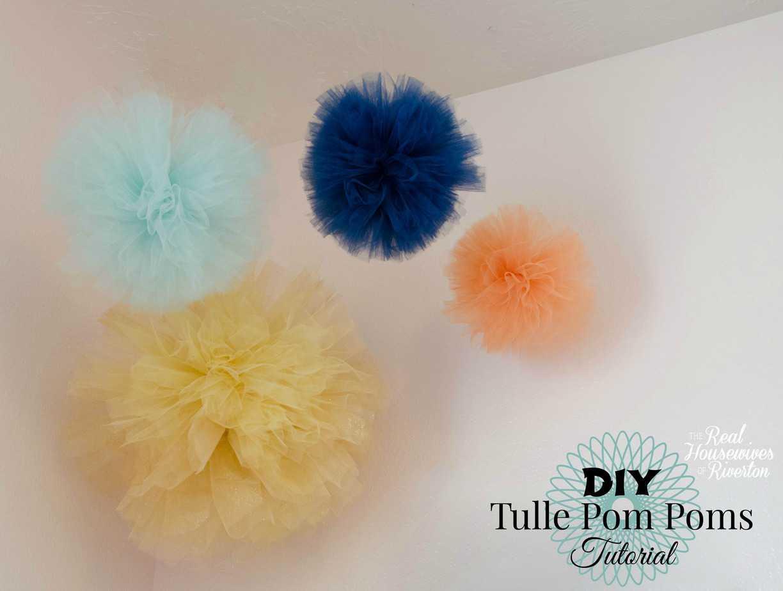 diy tulle pom poms tutorial housewives of riverton. Black Bedroom Furniture Sets. Home Design Ideas