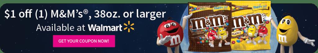 $1 off M&Ms, 38 oz bag