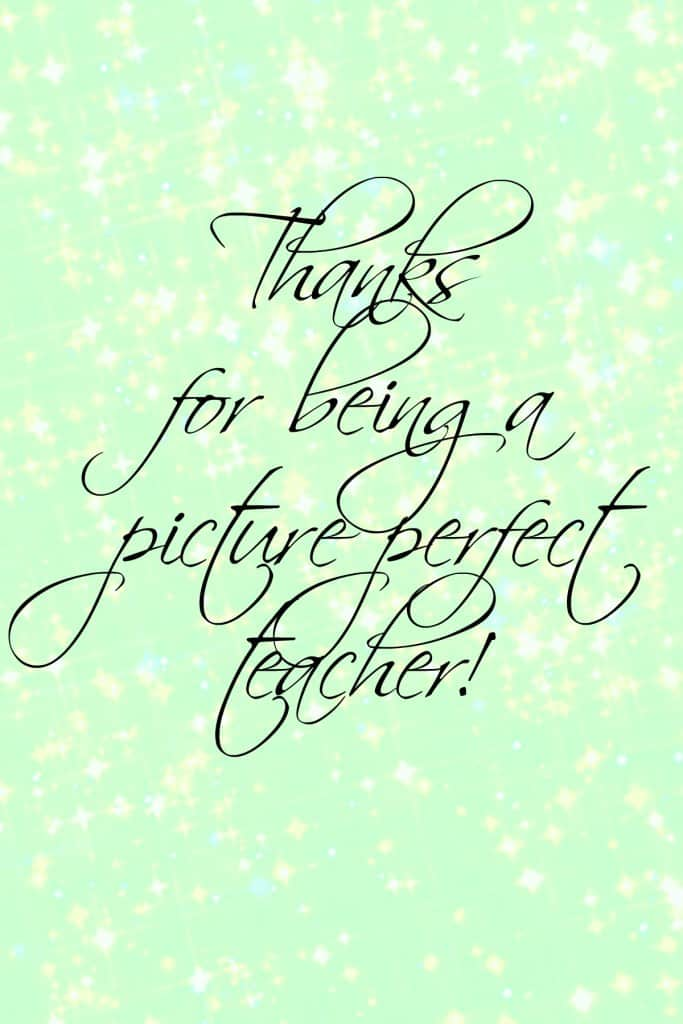Tell your teacher how much you appreciate them with our Picture Perfect Teacher End of School Year Gift by The Housewives of Riverton | www.housewivesofriverton.com