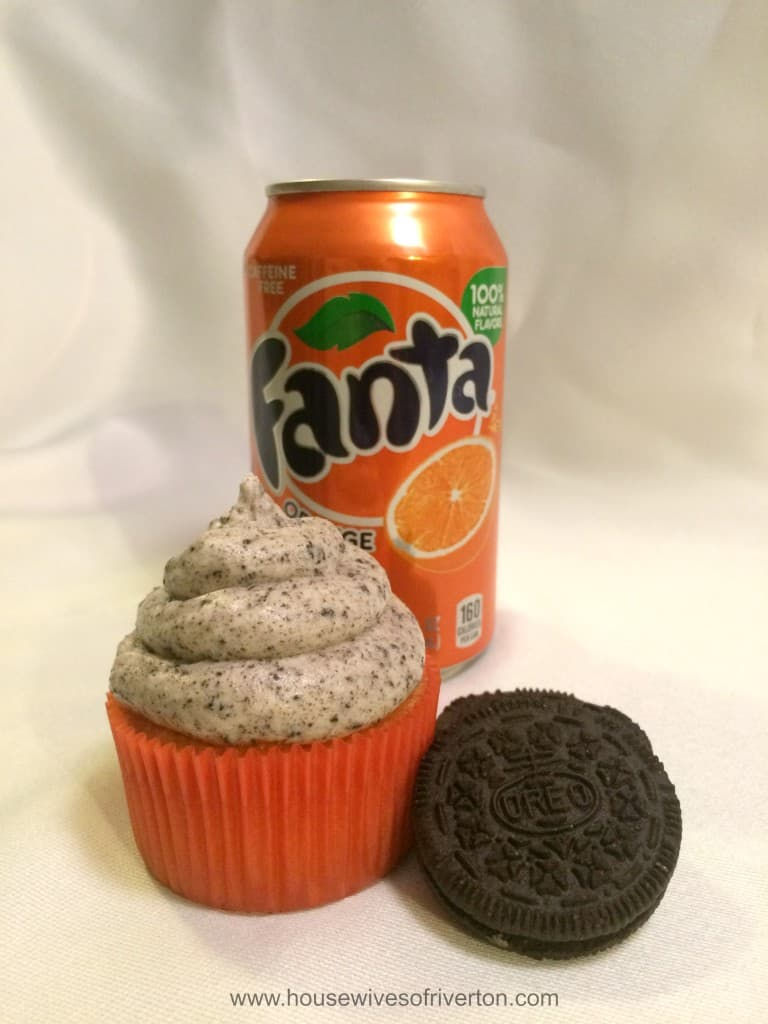 Orange Fanta Cupcakes with OREO Cookies and Cream Frosting Give a try for a fun Halloween treat! #Ad #SpookySnacks #cbias @Walmart