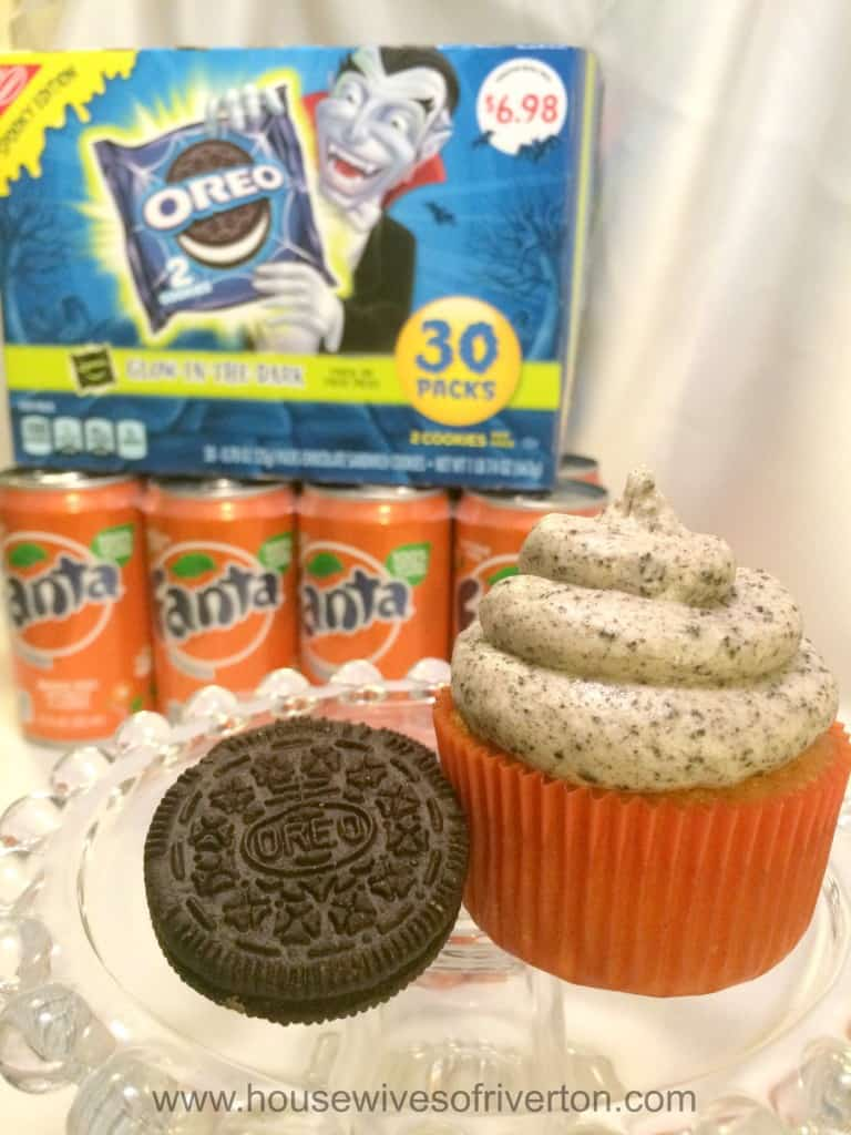 Orange Fanta Cupcakes with OREO Cookies and Cream Frosting Give these spooky delicious treats a try! #Ad #SpookySnacks #cbias @Walmart