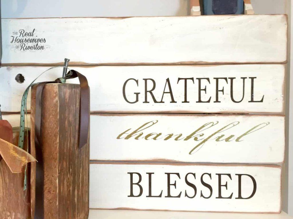 Grateful Thankful Blessed Pallet Sign