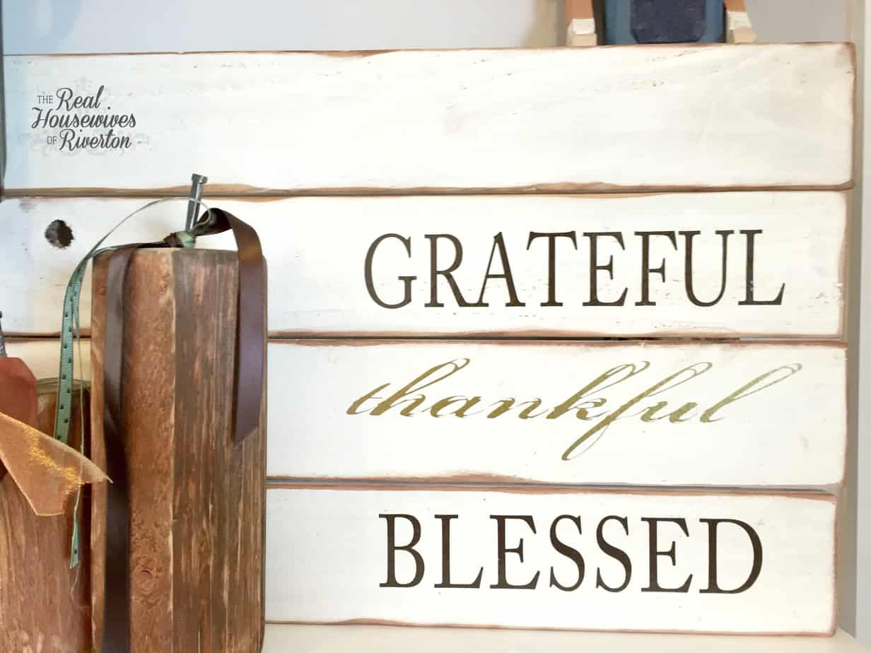Grateful Thankful Blessed Pallet Sign