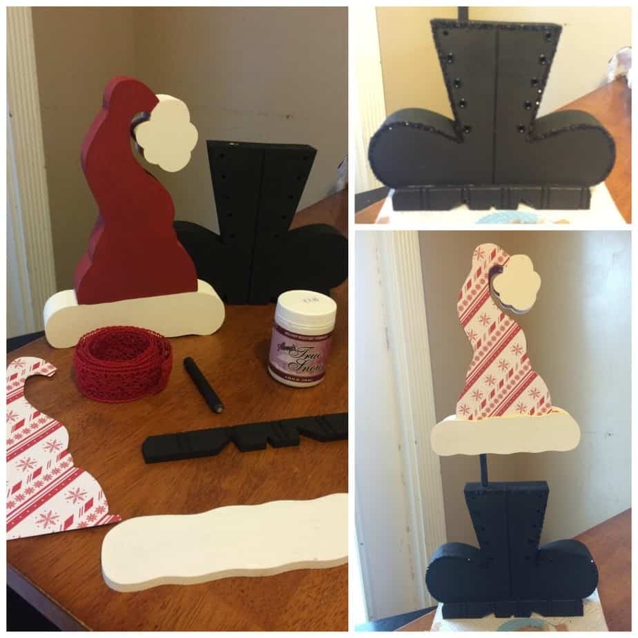 Santa Hat and Boots Christmas Wood Craft from The Wood Connection and a GIVEAWAY | www.housewivesofriverton.com