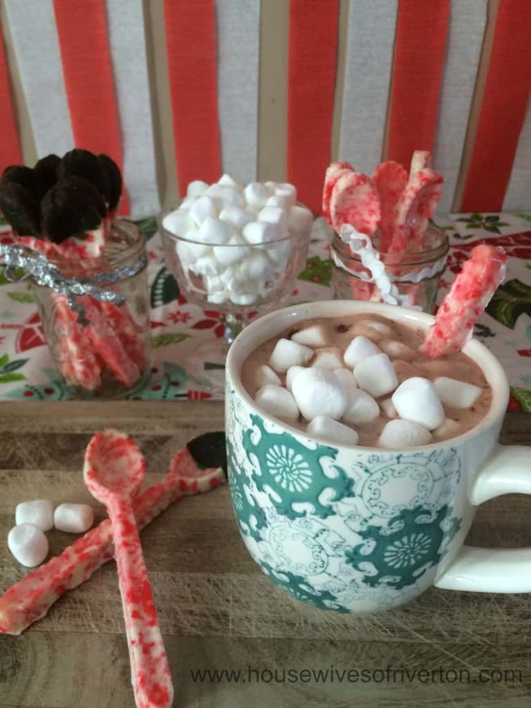 DIY Candy Cane Spoons for your hot chocolate are fun and easy to do! | www.housewivesofriverton.com