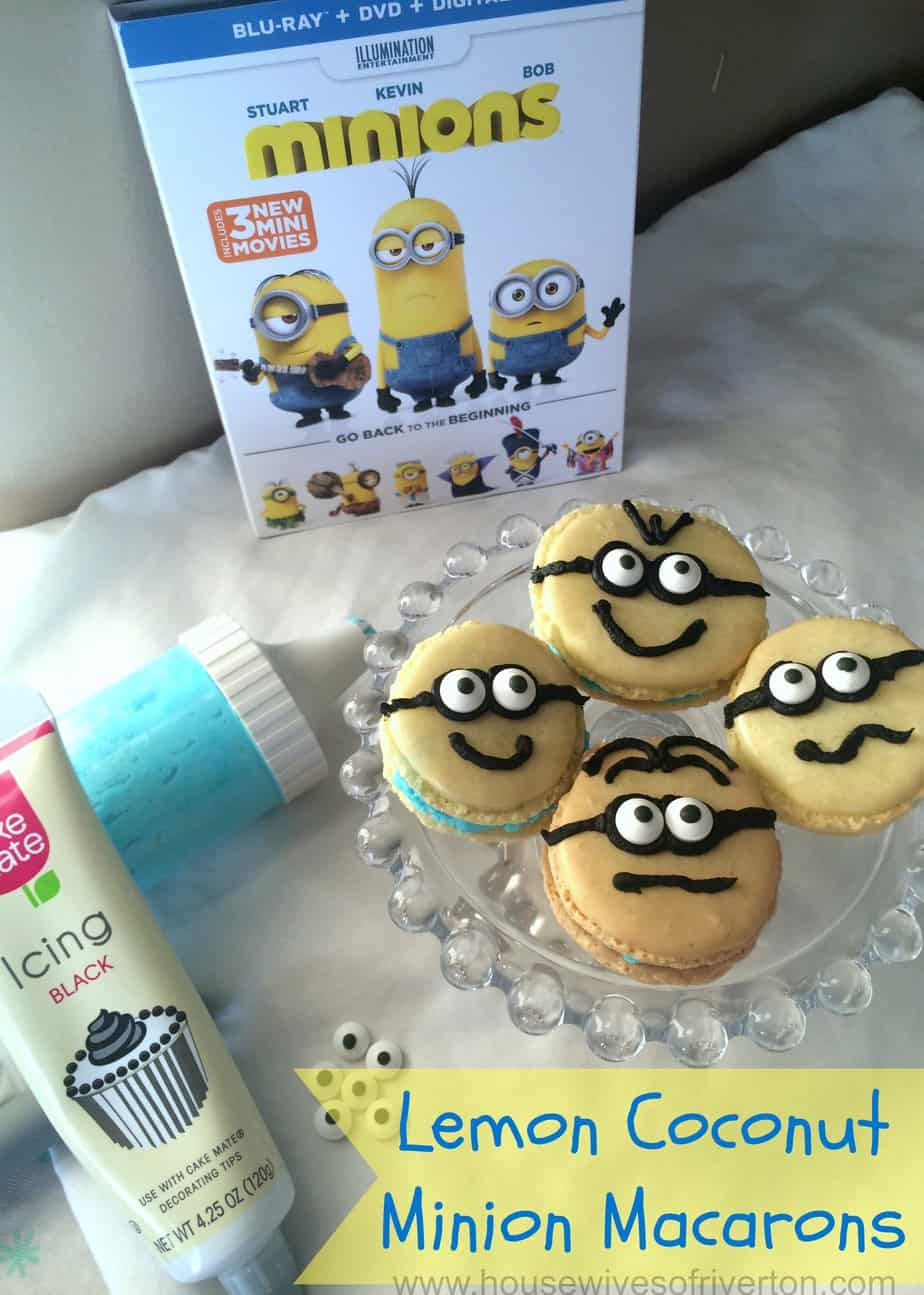 Lemon Coconut Minion Macarons