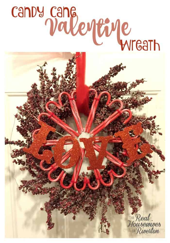 It's time to use those leftover candy canes! This Candy Cane Valentine Wreath DIY is the perfect way to use up the Candy Canes you have leftover without eating them all (which would be what I would do!). Find out how - housewivesofriverton.com