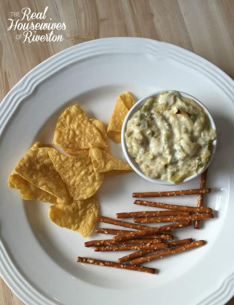 Hot Jalapeno and Green Chile Creamy Artichoke Dip Recipe - housewivesofriverton.com