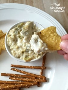 Hot Jalapeno and Green Chile Creamy Artichoke Dip Recipe - housewivesofriverton.com