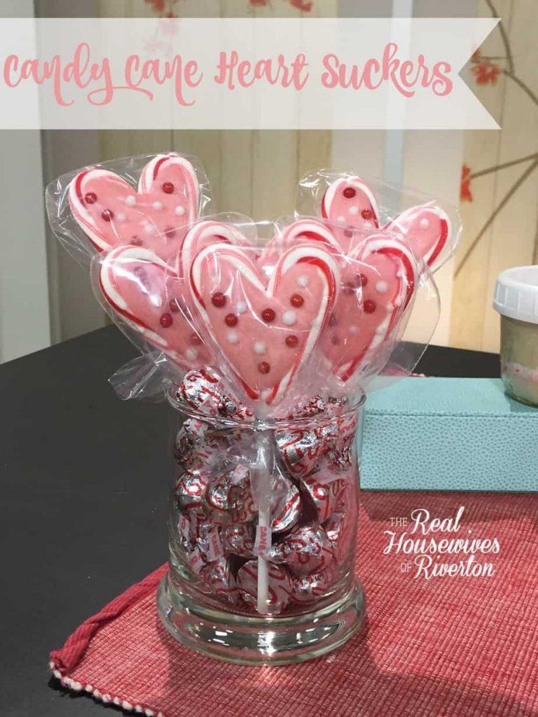 Valentine Candy Cane Heart Suckers