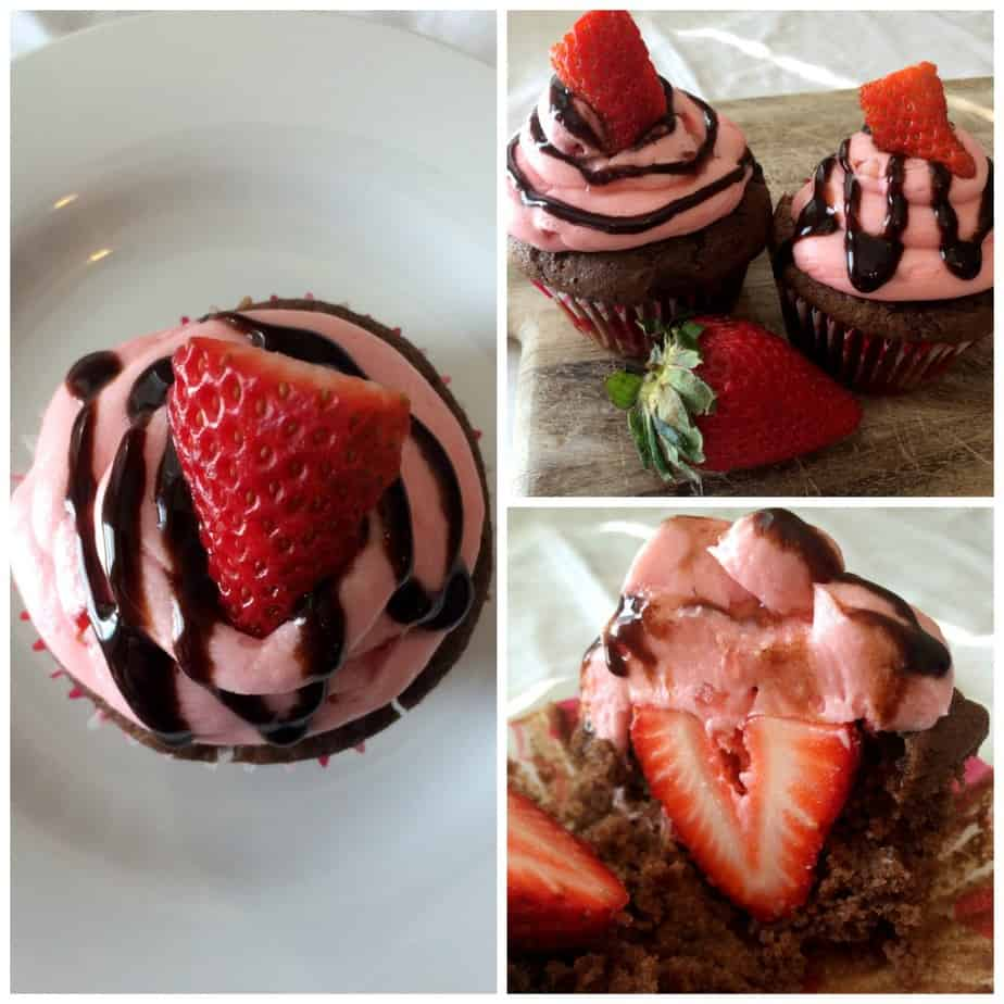 Chocolate Strawberry Surprise Cupcake The perfect sweet treat for your Valentine! | www.housewivesofriverton.com