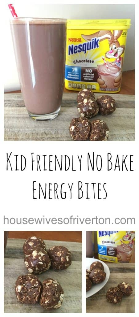 Kid Friendly No Bake Energy Bites When you're in a rush, these are the perfect go to for a quick breakfast! And the best part is your kids can make them all on their own! | www.housewivesofriverton.com