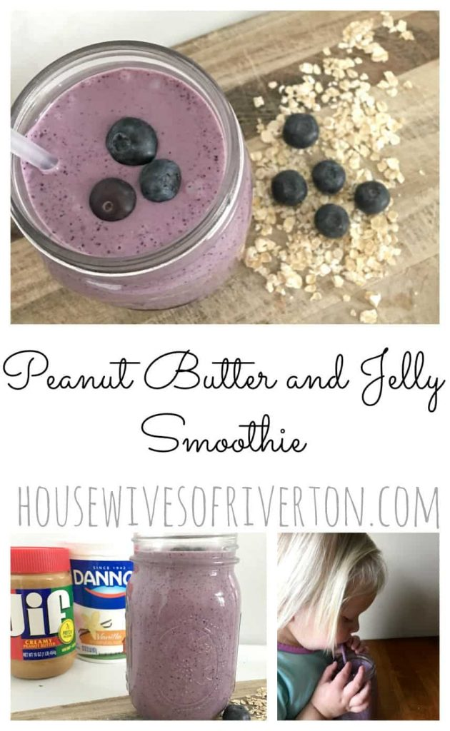 This Peanut Butter and Jelly Smoothie will be a HUGE hit at your house! You're kids are going to love the yummy flavor. Customize to your family's taste! | www.housewivesofriverton.com