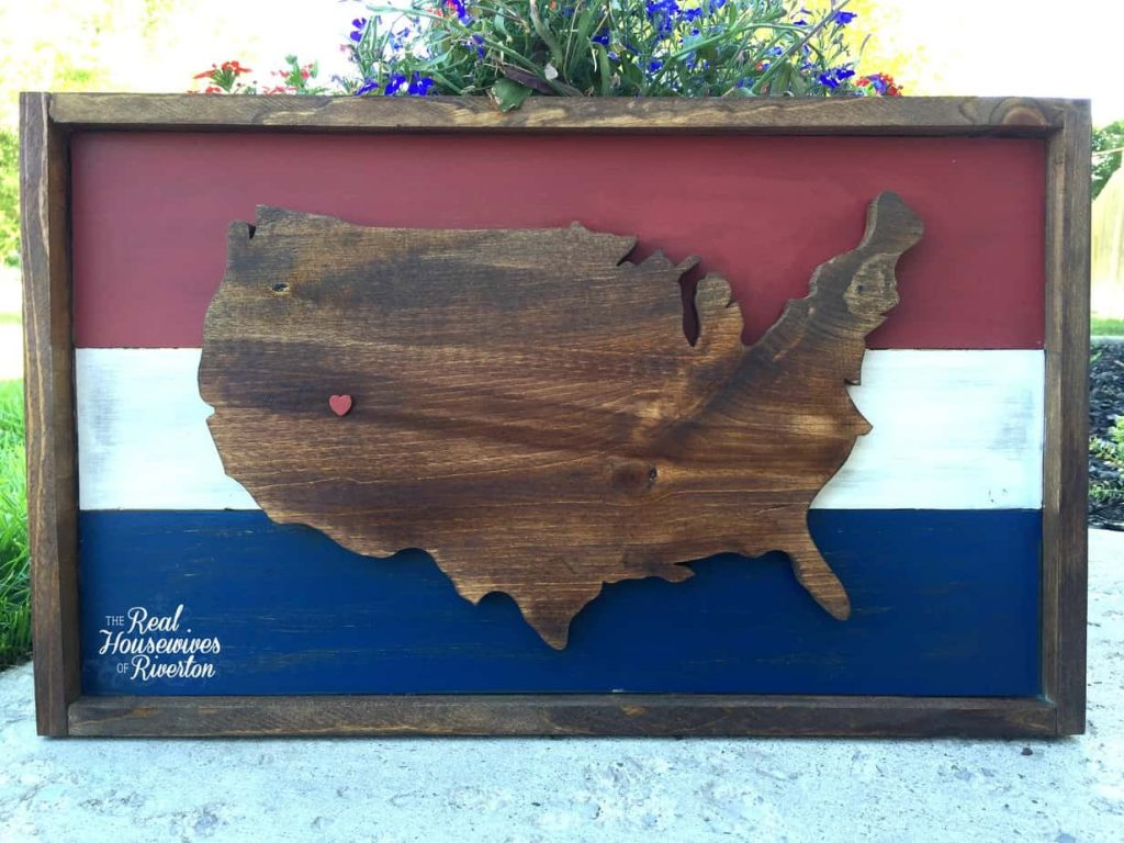 United States of America Wood Sign