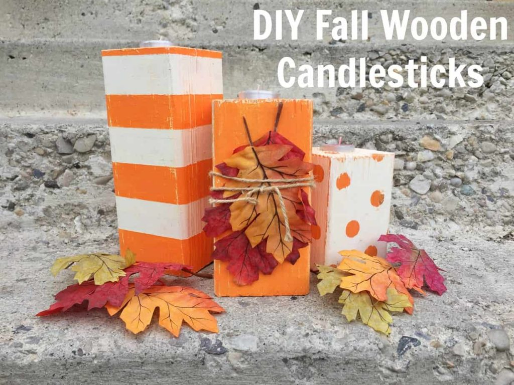 DIY Fall Wooden Candlesticks