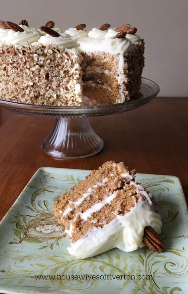 Brighten up your Spring with this delicious Carrot Cake!  It's perfect for your Easter dessert! | www.housewivesofriverton.com