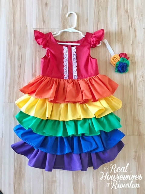 Rainbow Ruffle Dress Tutorial - Housewivesofriverton.com