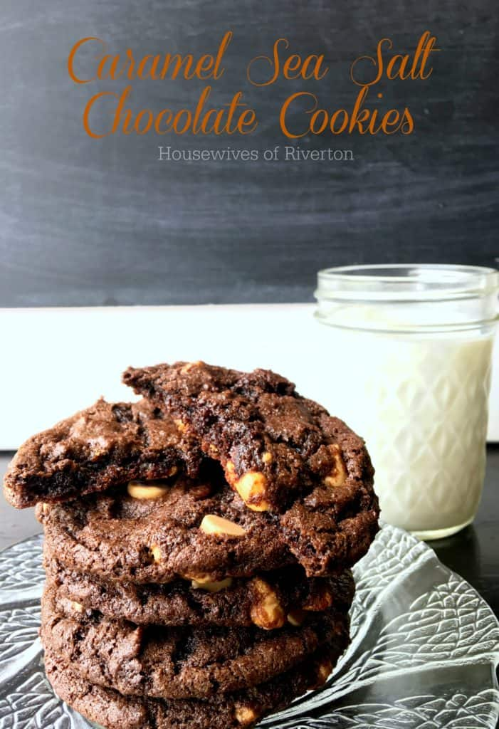 Caramel Sea Salt Chip Chocolate Cookies are exactly what you are looking for if you need chocolatey goodness with a touch of salty! | www.housewivesofriverton.com