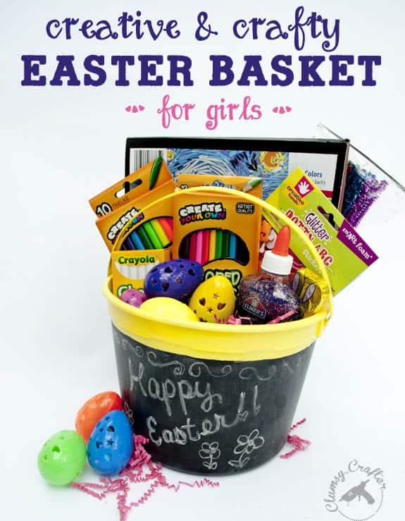 How cute is this chalkboard Easter basket from Clumsy Crafter???