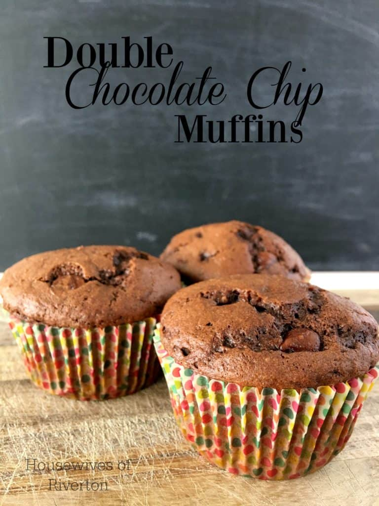 These Double Chocolate Chip Muffins are a great copy cat for Costco muffins! Not too sweet and a delicious rich, chocolate flavor! | www.housewivesofriverton.com