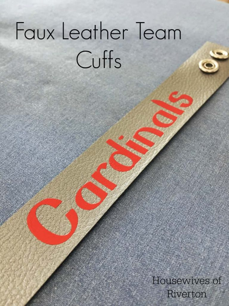 Make these cute, faux leather cuffs for your favorite team! They're easy to do using your Cricut and Design Space! | www.housewivesofriverton.com