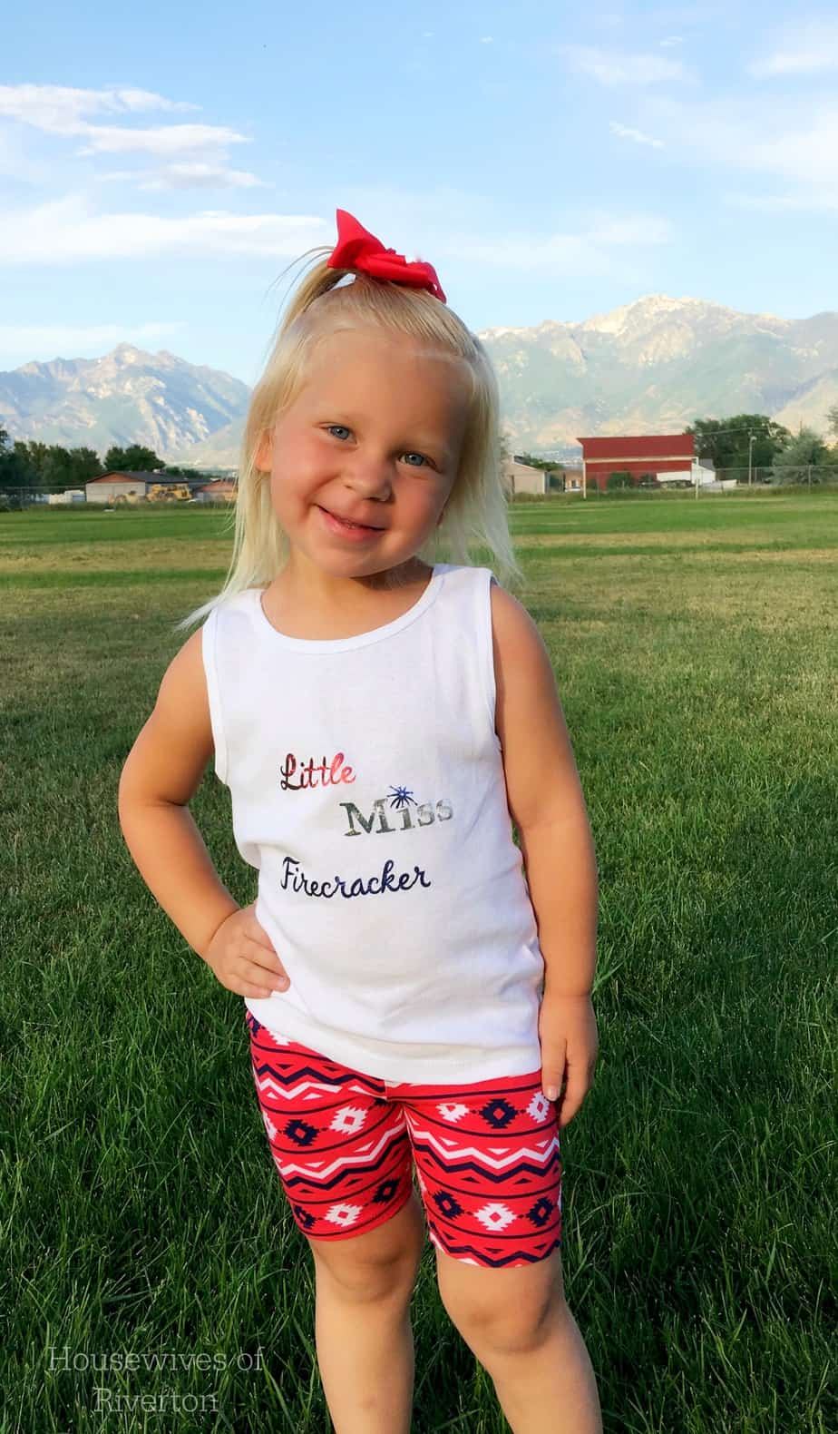 Our DIY Firecracker Shirts using the Cricut Explore Air and Design space are great for fun, 4th of July family outfits! | www.housewivesofriverton.com