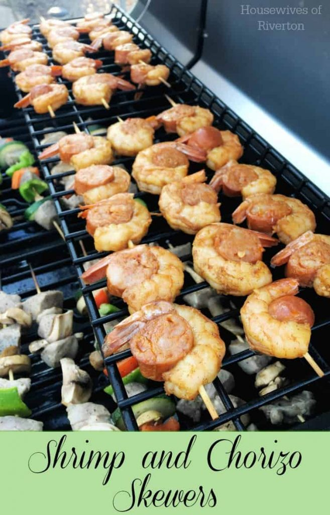 Get your grill on with these amazing Marinated Shrimp and Chorizo Skewers. They are easy and super flavorful! | www.housewivesofriverton.com