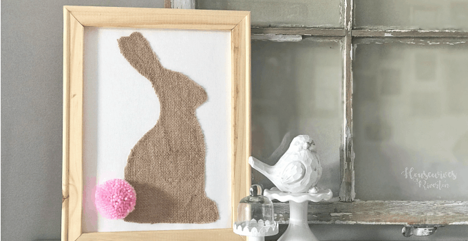 Burlap Bunny Reverse Canvas
