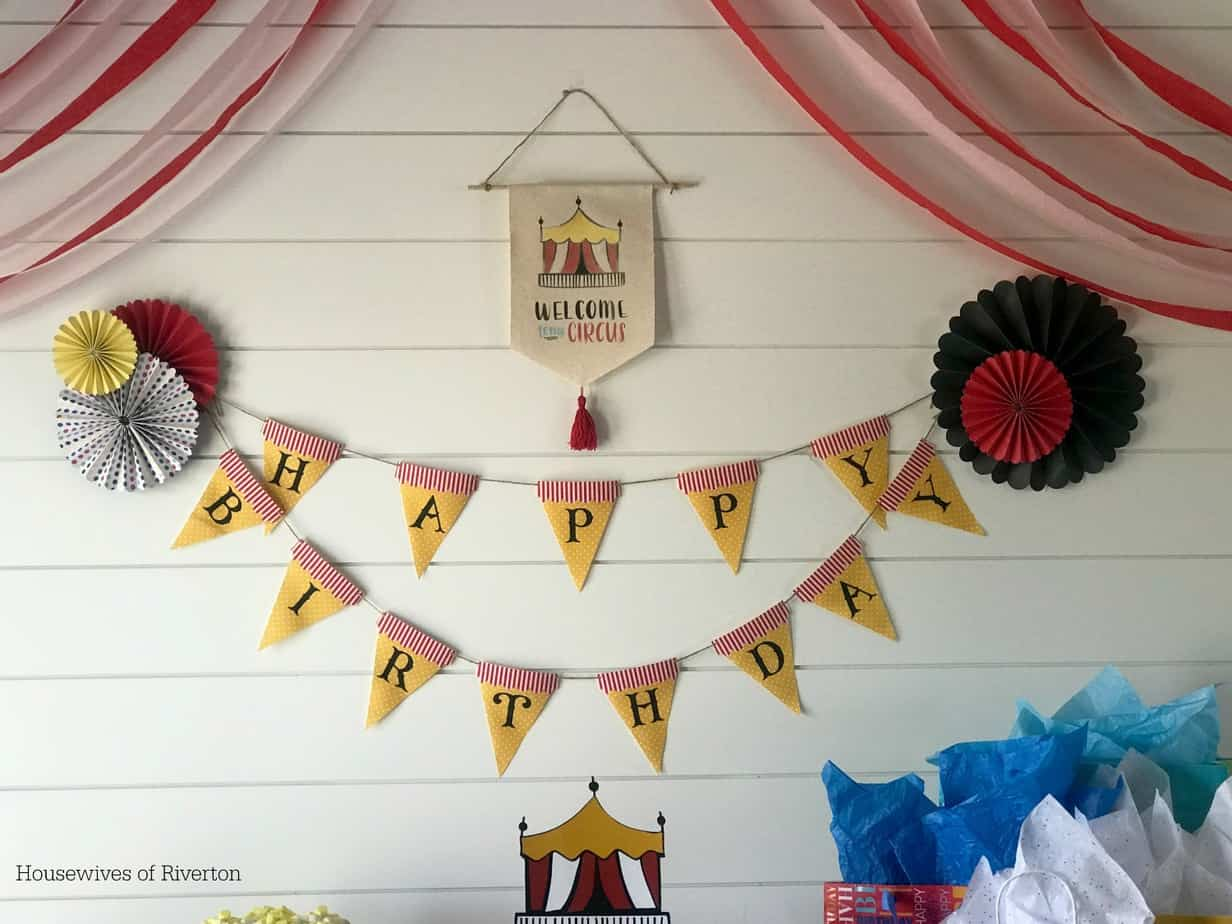 Big Top Birthday Happy Birthday Fabric Pennant Banner | www.housewivesofriverton.com