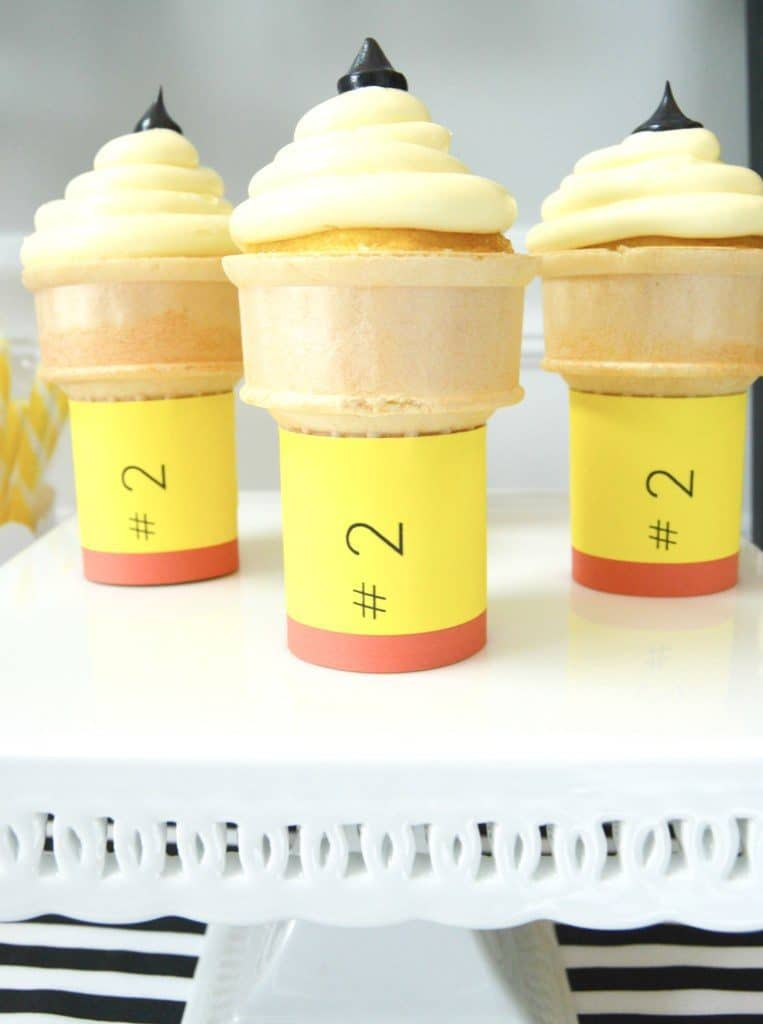 Pencil Ice Cream Cone Cupcakes |10 Back to School After School Treats | www.housewivesofriverton.com