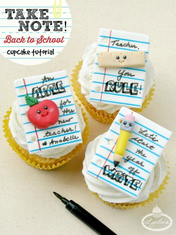 Take Note Cupcakes |10 Back to School After School Treats| www.housewivesofriverton.com