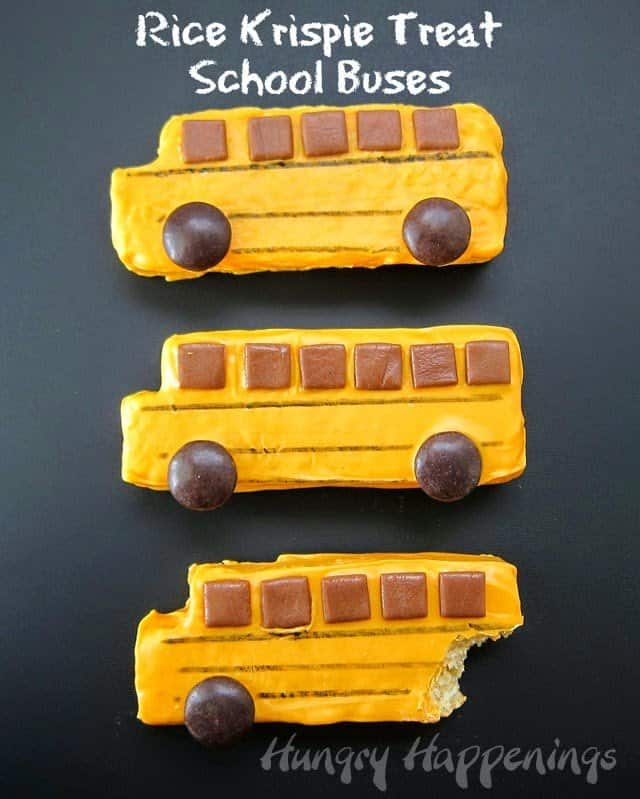 Rice Krispie Treat School Buses |10 Back to School After School Treats | www.housewivesofriverton.com