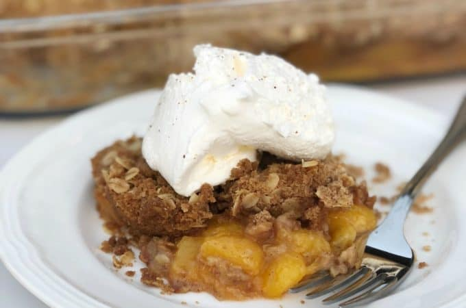Fresh Peach Crumble. Use up all those extra peaches with this delicious dessert! | www.housewivesofriverton.com