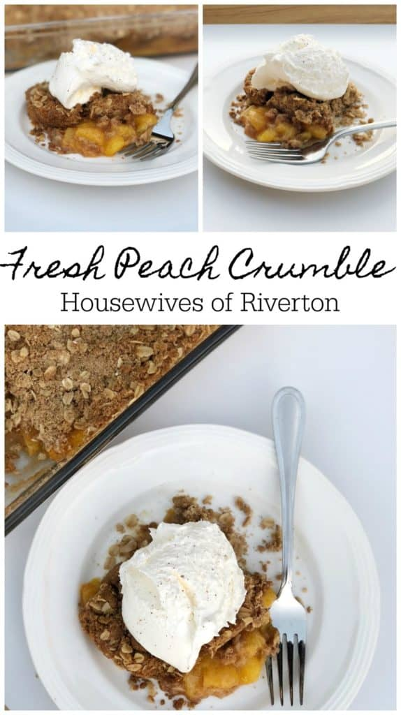 A Fresh Peach Crumble is a perfect fall dessert! | www.housewivesofriverton.com
