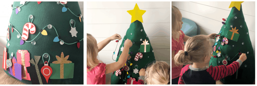 Decorating the Kids Felt Christmas Tree | www.housewivesofriverton.com