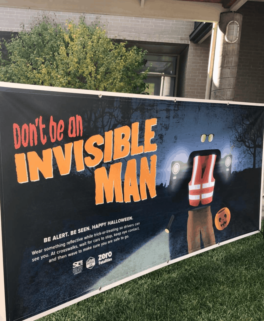 Zero Fatalities Invisible Man poster Halloween Safety Tips | www.housewivesofriverton.com