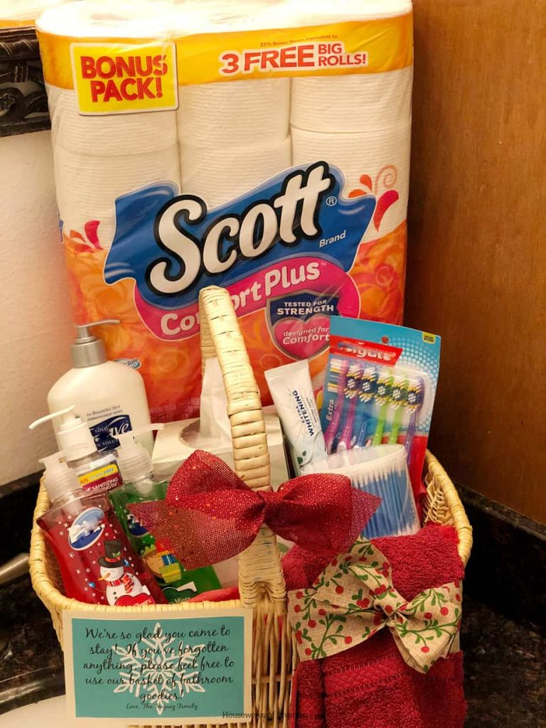 Guest Bathroom Gift Basket with Scott® ComfortPlus™ Toilet Paper | www.housewivesofriverton.com