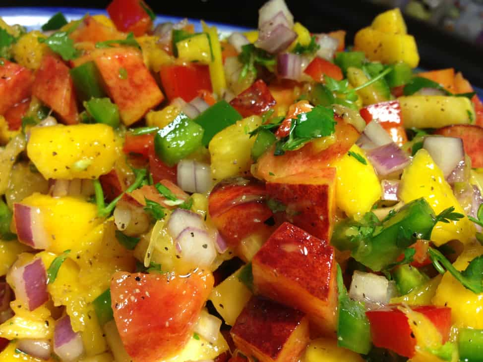 Spicy Peach Pineapple Mango Salsa Recipe