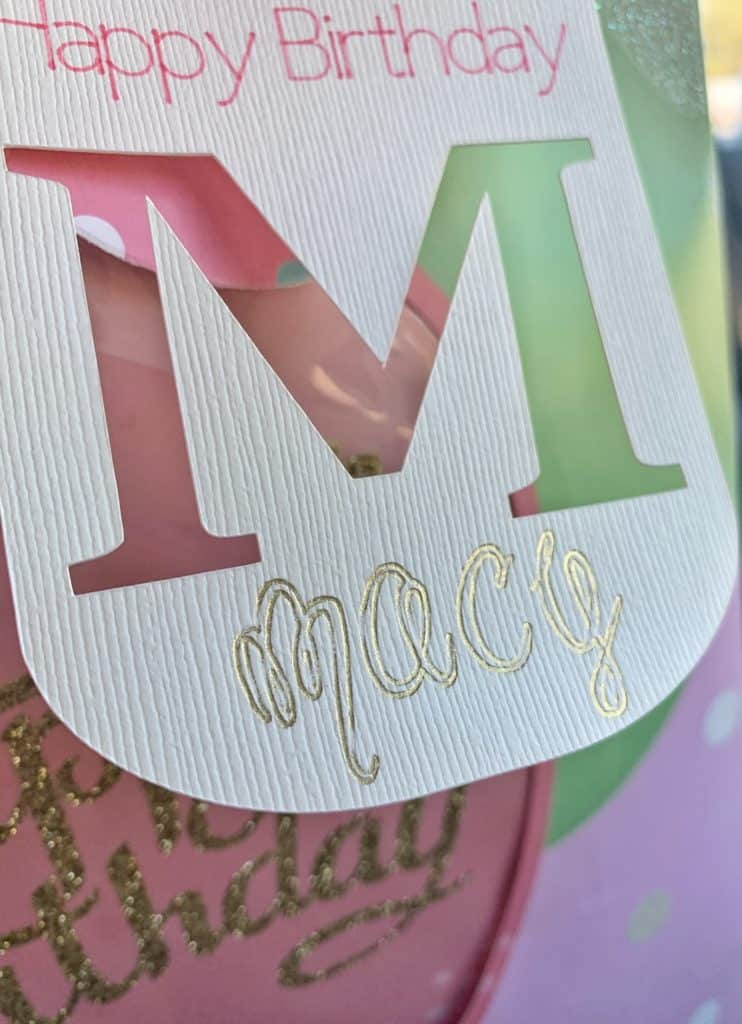 Foil Birthday Gift Tag - close up